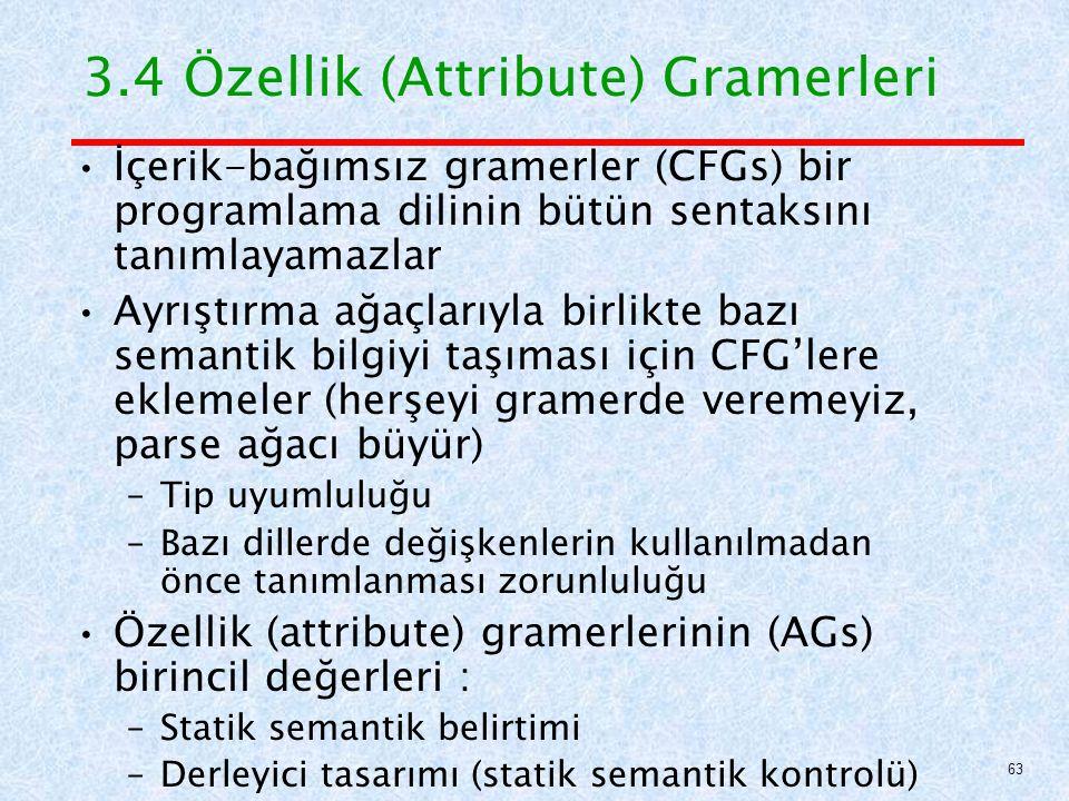 3.4 Özellik (Attribute) Gramerleri