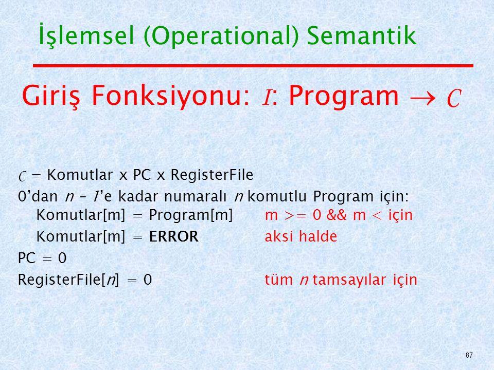 Giriş Fonksiyonu: I: Program  C