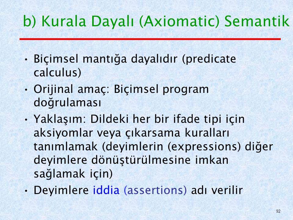 b) Kurala Dayalı (Axiomatic) Semantik