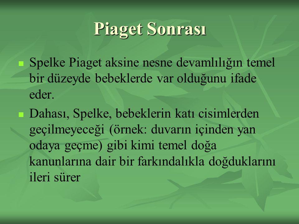 Piaget Sonrası Spelke Piaget aksine nesne devamlılığın temel bir düzeyde bebeklerde var olduğunu ifade eder.