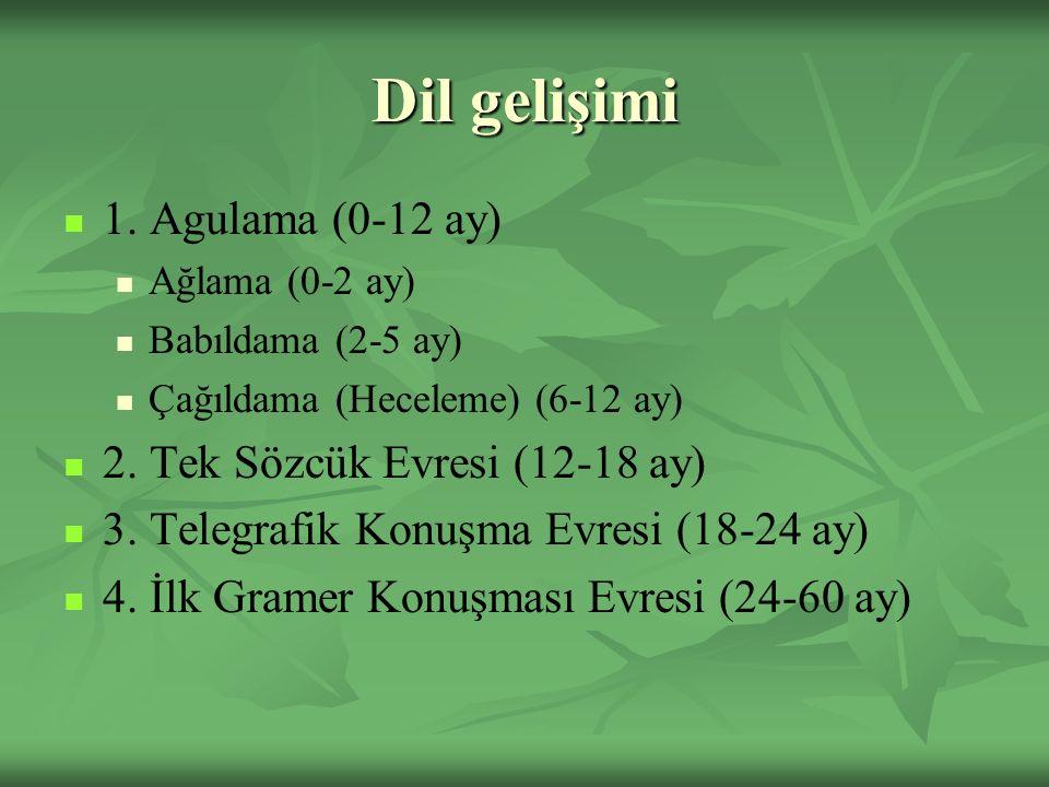 Dil gelişimi 1. Agulama (0-12 ay) 2. Tek Sözcük Evresi (12-18 ay)