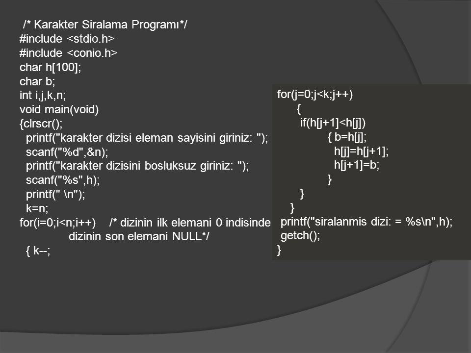 /* Karakter Siralama Programı*/ #include <stdio.h>