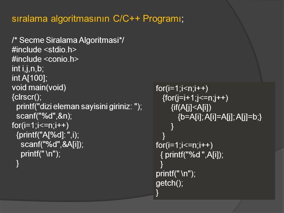 sıralama algoritmasının C/C++ Programı;