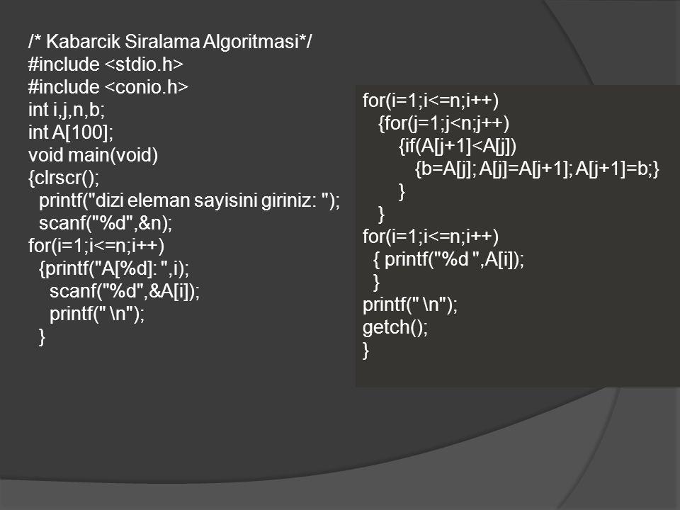 /* Kabarcik Siralama Algoritmasi*/