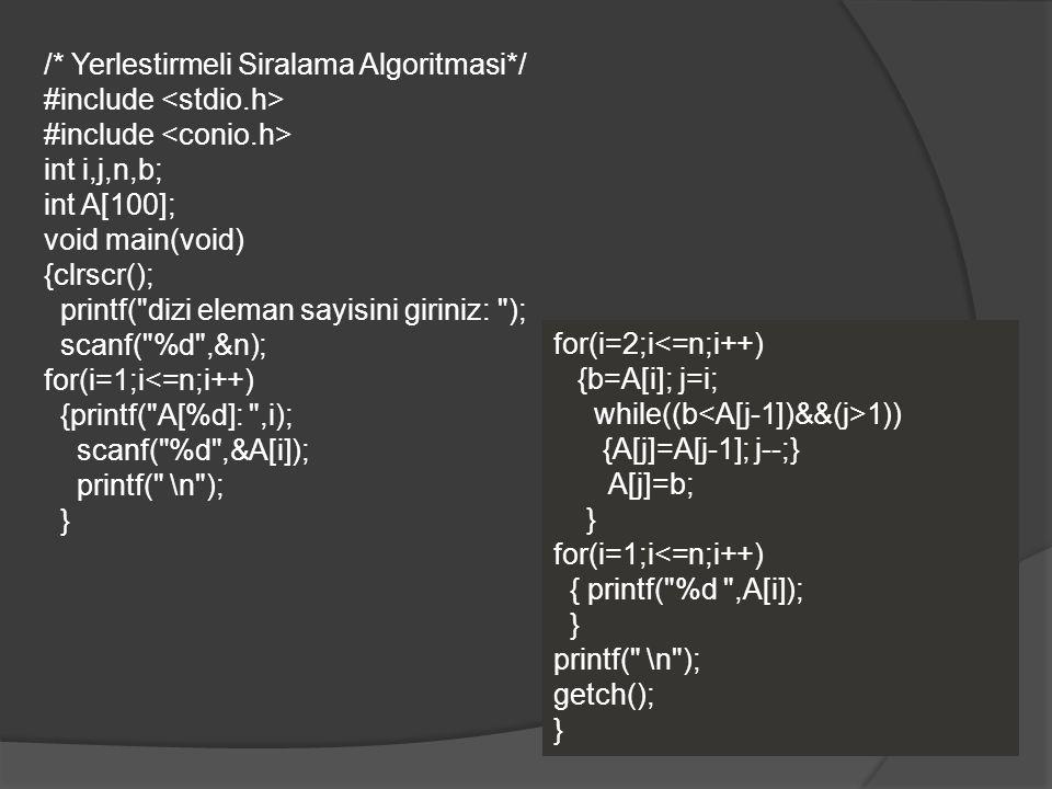 /* Yerlestirmeli Siralama Algoritmasi*/ #include <stdio.h>