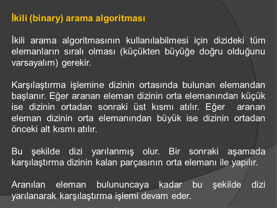 İkili (binary) arama algoritması