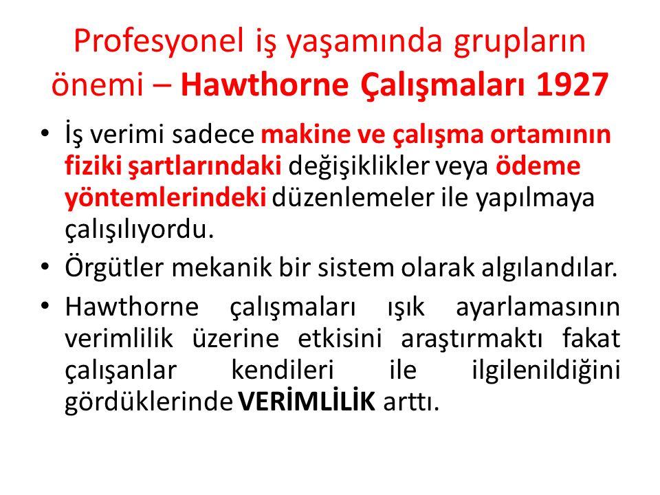 Profesyonel iş yaşamında grupların önemi – Hawthorne Çalışmaları 1927