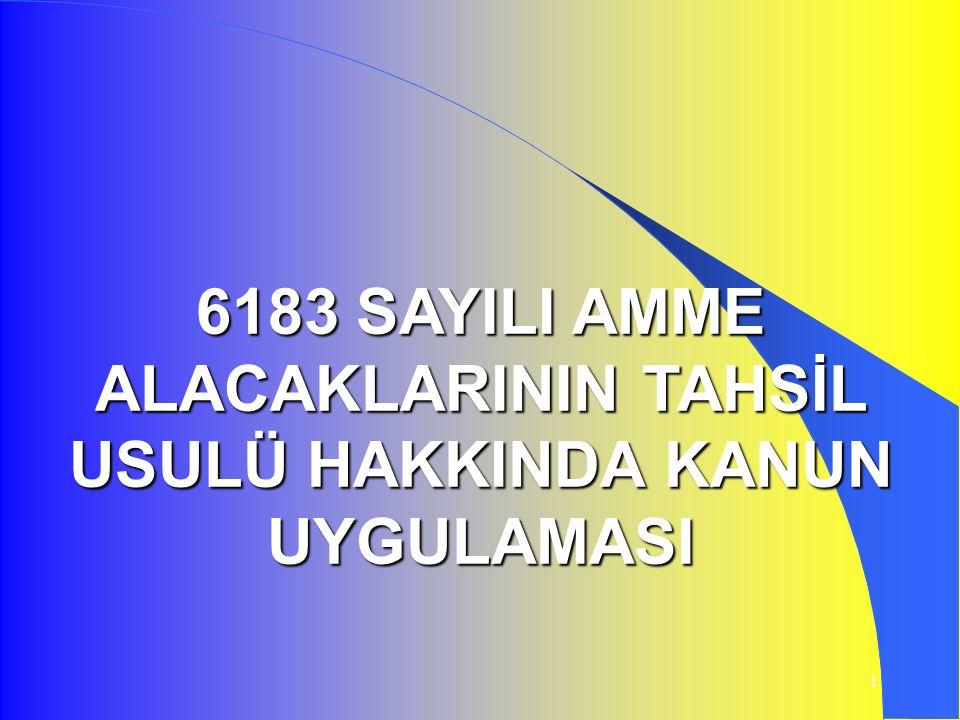 6183 SAYILI AMME ALACAKLARININ TAHSİL USULÜ HAKKINDA KANUN UYGULAMASI
