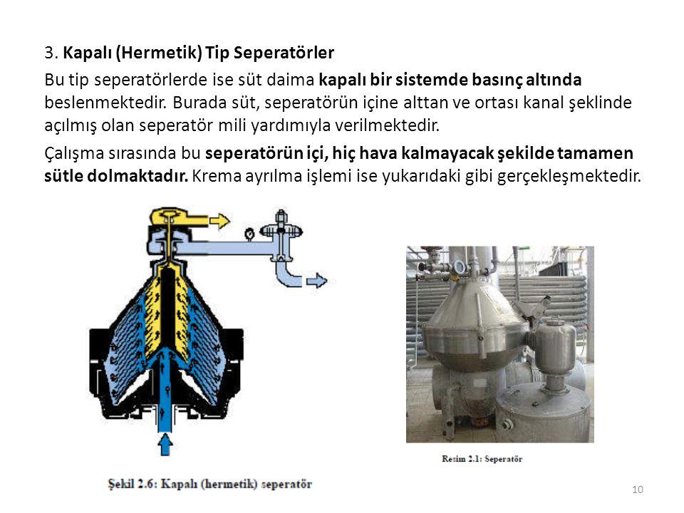 3. Kapalı (Hermetik) Tip Seperatörler