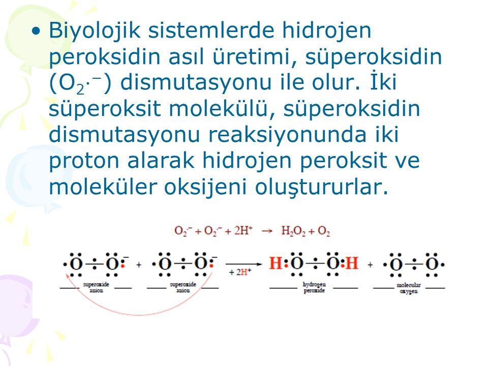 Biyolojik sistemlerde hidrojen peroksidin asıl üretimi, süperoksidin (O2⋅−) dismutasyonu ile olur.