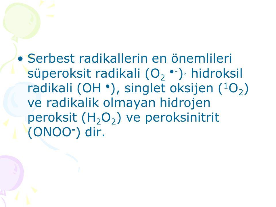 Serbest radikallerin en önemlileri süperoksit radikali (O2 ●-), hidroksil radikali (OH ●), singlet oksijen (1O2) ve radikalik olmayan hidrojen peroksit (H2O2) ve peroksinitrit (ONOO-) dir.