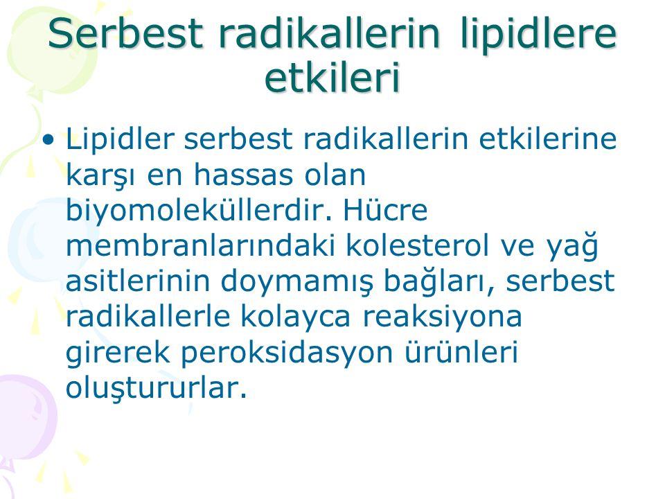 Serbest radikallerin lipidlere etkileri