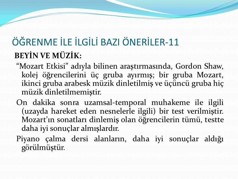 ÖĞRENME İLE İLGİLİ BAZI ÖNERİLER-11