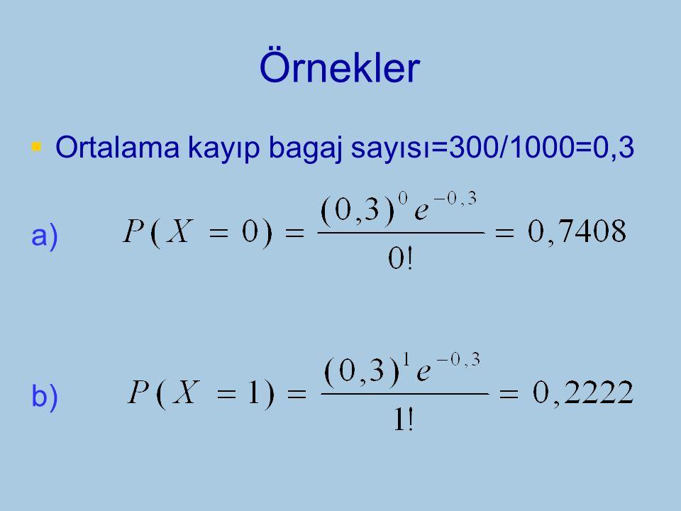 Örnekler Ortalama kayıp bagaj sayısı=300/1000=0,3 a) b)