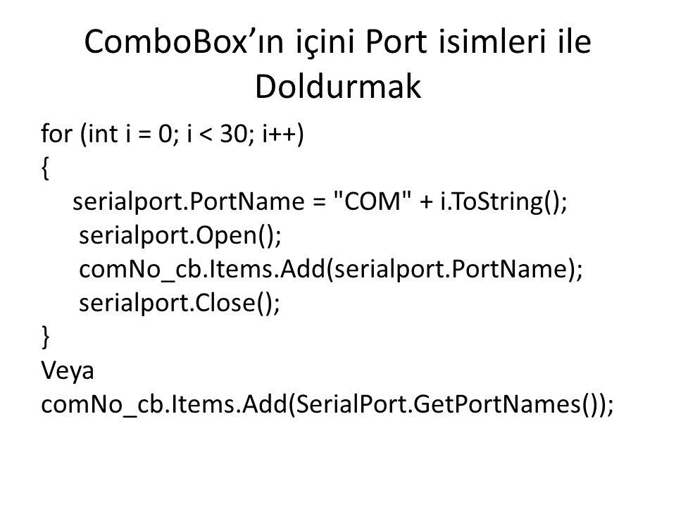 ComboBox'ın içini Port isimleri ile Doldurmak
