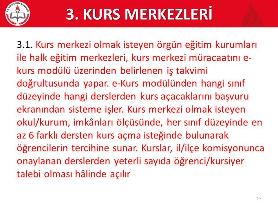 3. KURS MERKEZLERİ