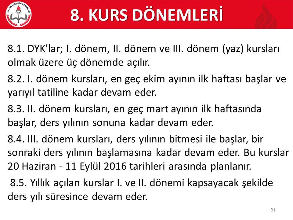 8. KURS DÖNEMLERİ
