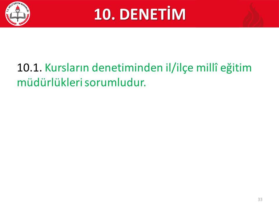 10. DENETİM 10.1. Kursların denetiminden il/ilçe millî eğitim müdürlükleri sorumludur.
