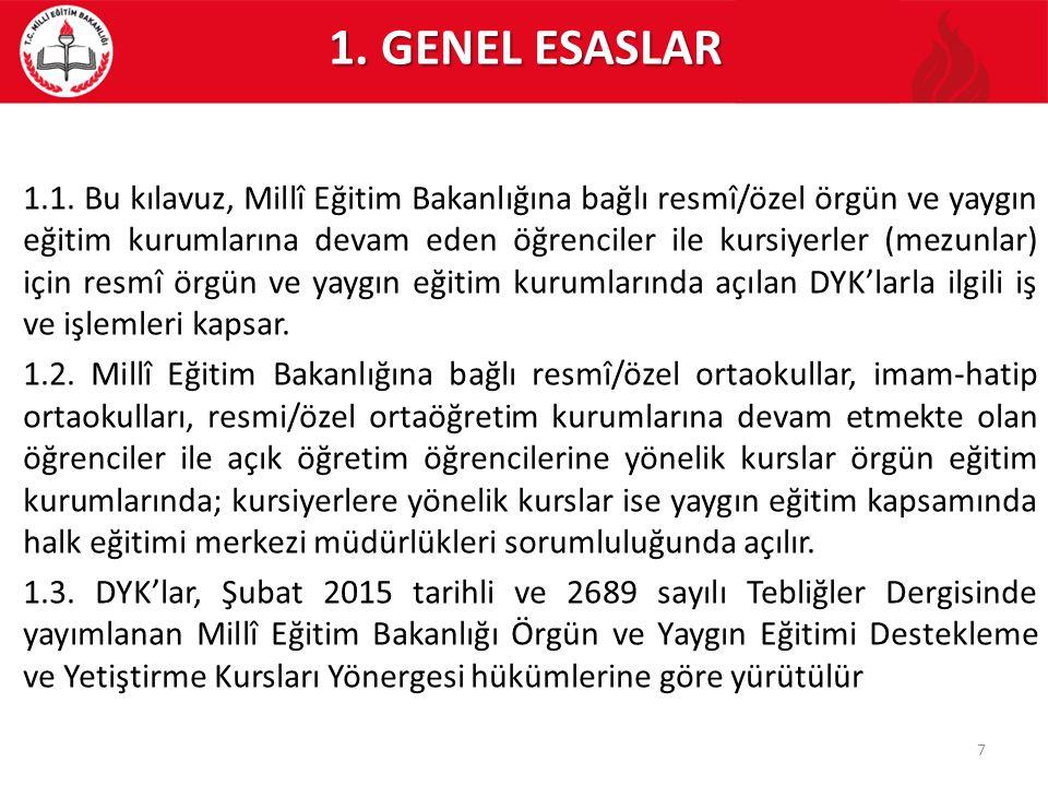 1. GENEL ESASLAR