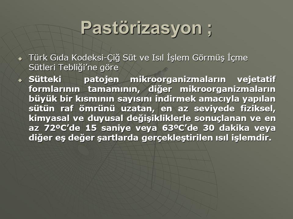 Pastörizasyon ; Türk Gıda Kodeksi-Çiğ Süt ve Isıl İşlem Görmüş İçme Sütleri Tebliği'ne göre.