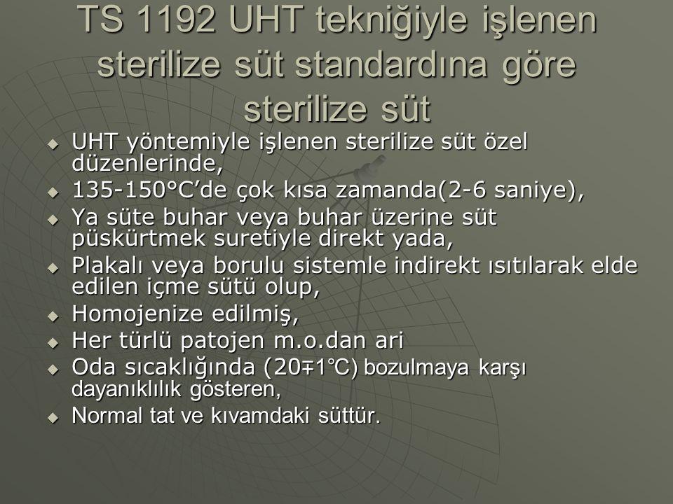 TS 1192 UHT tekniğiyle işlenen sterilize süt standardına göre sterilize süt