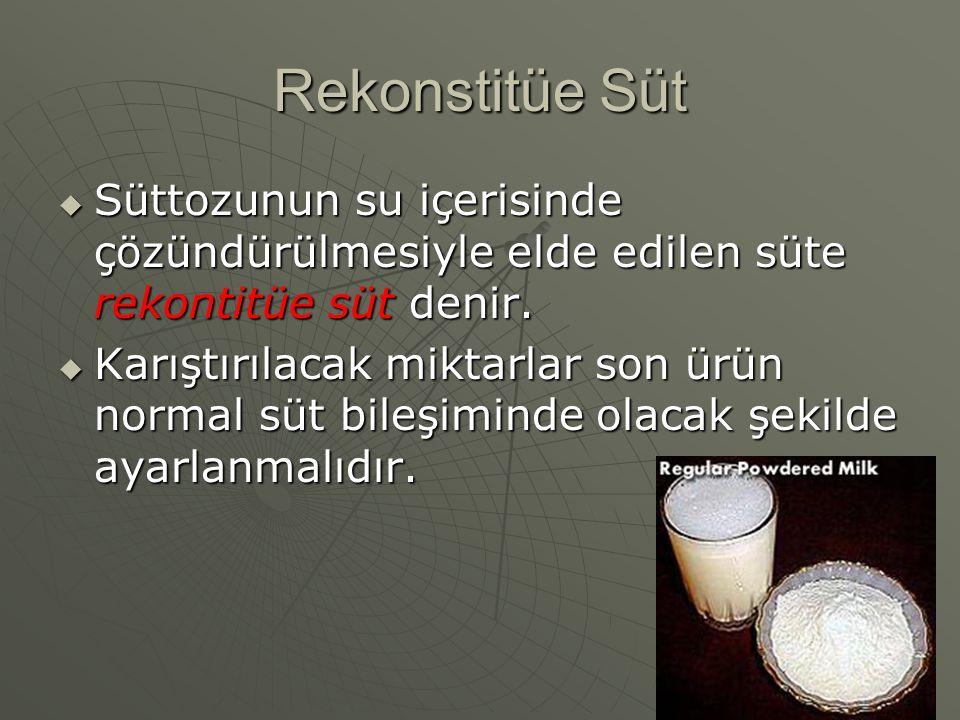 Rekonstitüe Süt Süttozunun su içerisinde çözündürülmesiyle elde edilen süte rekontitüe süt denir.