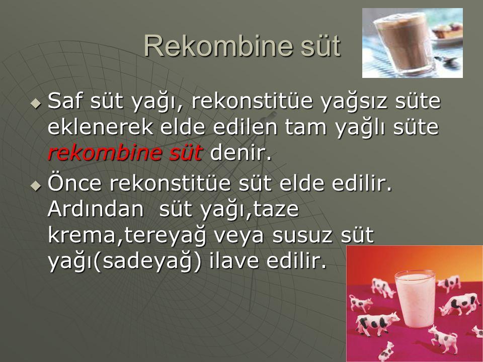 Rekombine süt Saf süt yağı, rekonstitüe yağsız süte eklenerek elde edilen tam yağlı süte rekombine süt denir.