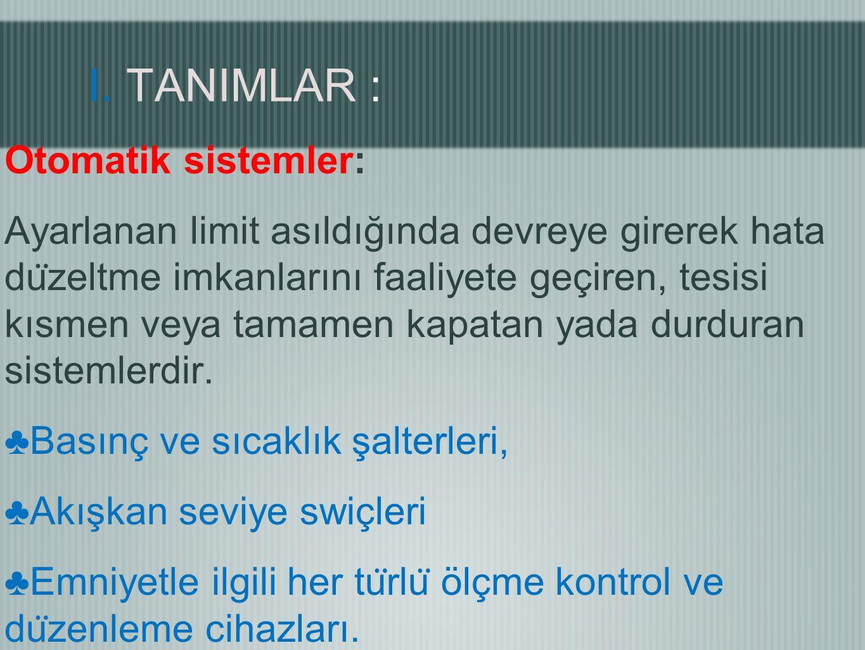 I. TANIMLAR :