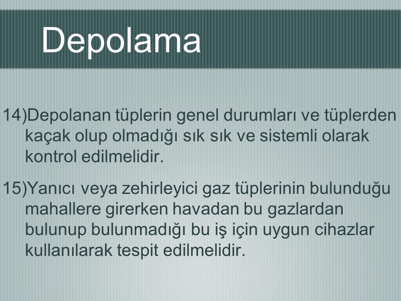 Depolama Depolanan tüplerin genel durumları ve tüplerden kaçak olup olmadığı sık sık ve sistemli olarak kontrol edilmelidir.