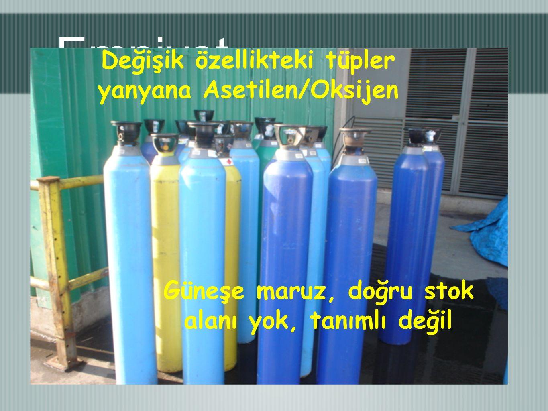 Emniyet Değişik özellikteki tüpler yanyana Asetilen/Oksijen