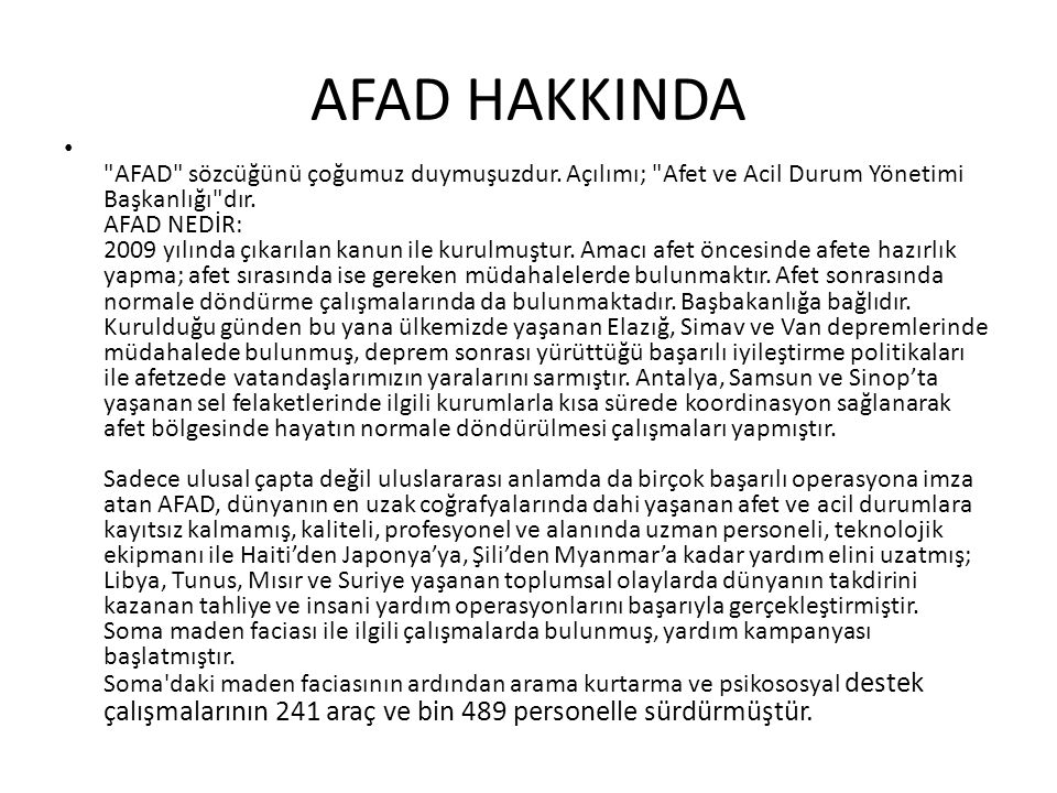 AFAD HAKKINDA