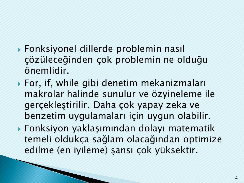 Fonksiyonel dillerde problemin nasıl çözüleceğinden çok problemin ne olduğu önemlidir.