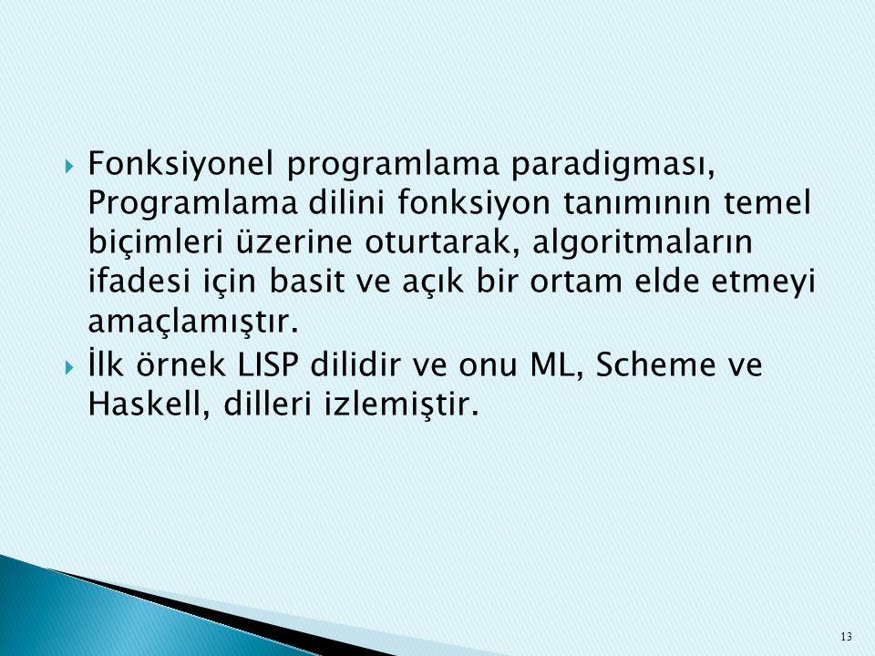 Fonksiyonel programlama paradigması, Programlama dilini fonksiyon tanımının temel biçimleri üzerine oturtarak, algoritmaların ifadesi için basit ve açık bir ortam elde etmeyi amaçlamıştır.