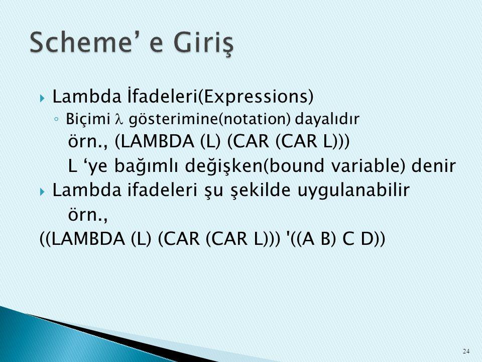 Scheme' e Giriş Lambda İfadeleri(Expressions)