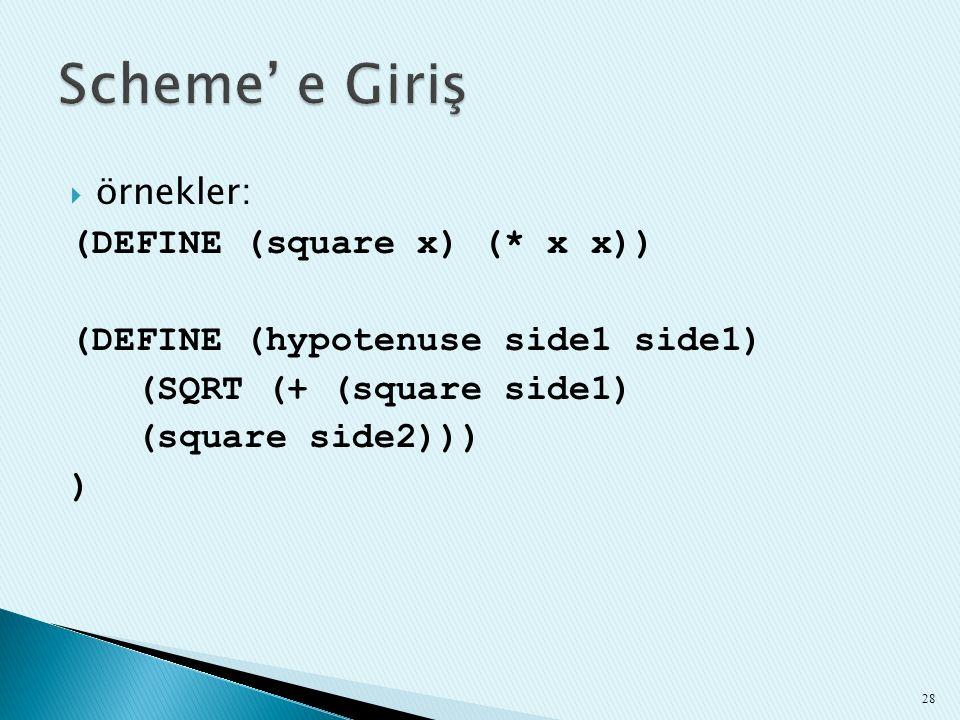 Scheme' e Giriş örnekler: (DEFINE (square x) (* x x))