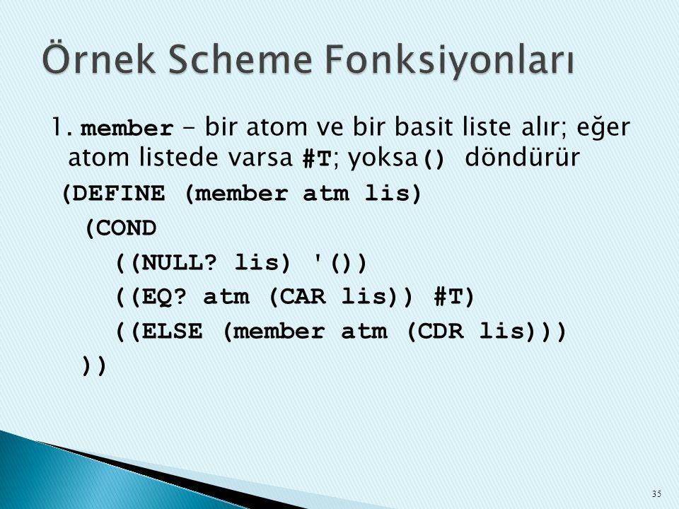 Örnek Scheme Fonksiyonları