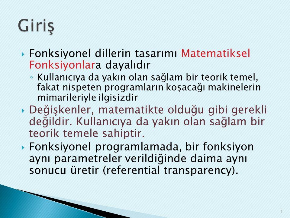 Giriş Fonksiyonel dillerin tasarımı Matematiksel Fonksiyonlara dayalıdır.