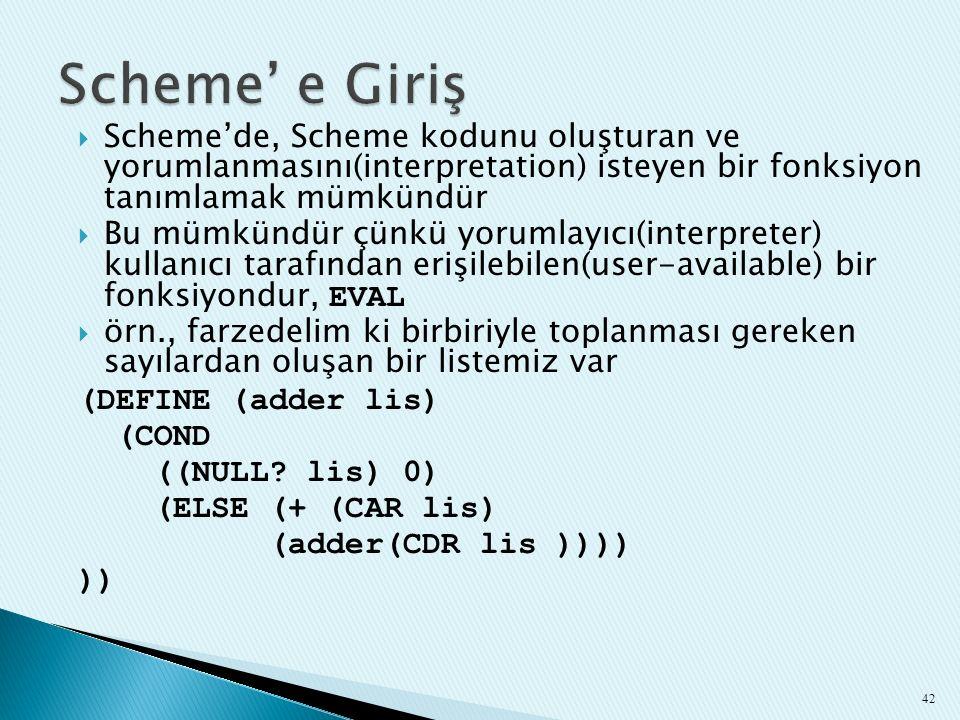 Scheme' e Giriş Scheme'de, Scheme kodunu oluşturan ve yorumlanmasını(interpretation) isteyen bir fonksiyon tanımlamak mümkündür.