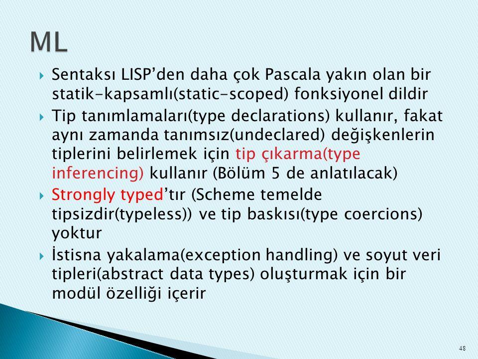 ML Sentaksı LISP'den daha çok Pascala yakın olan bir statik-kapsamlı(static-scoped) fonksiyonel dildir.