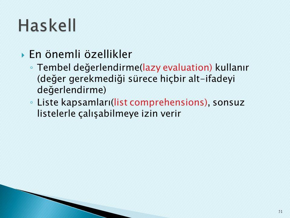 Haskell En önemli özellikler