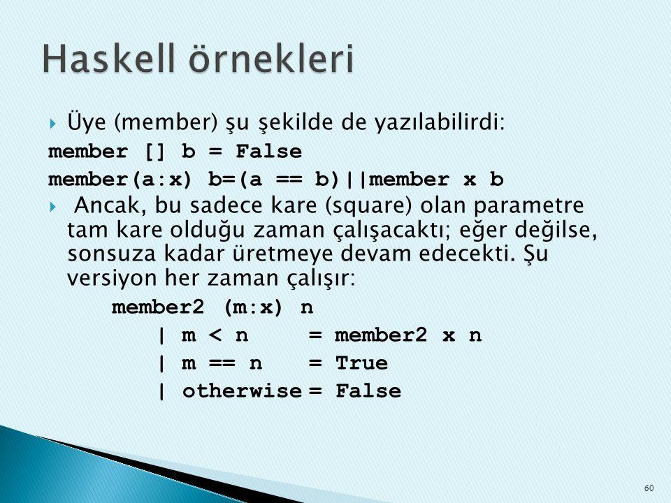Haskell örnekleri Üye (member) şu şekilde de yazılabilirdi: