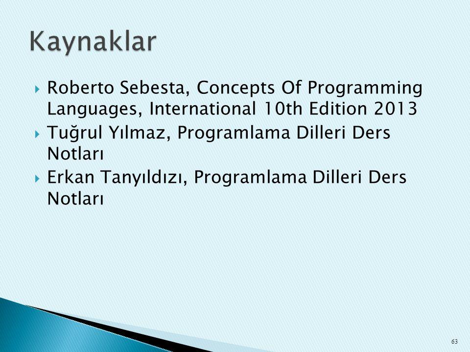 Kaynaklar Roberto Sebesta, Concepts Of Programming Languages, International 10th Edition 2013. Tuğrul Yılmaz, Programlama Dilleri Ders Notları.