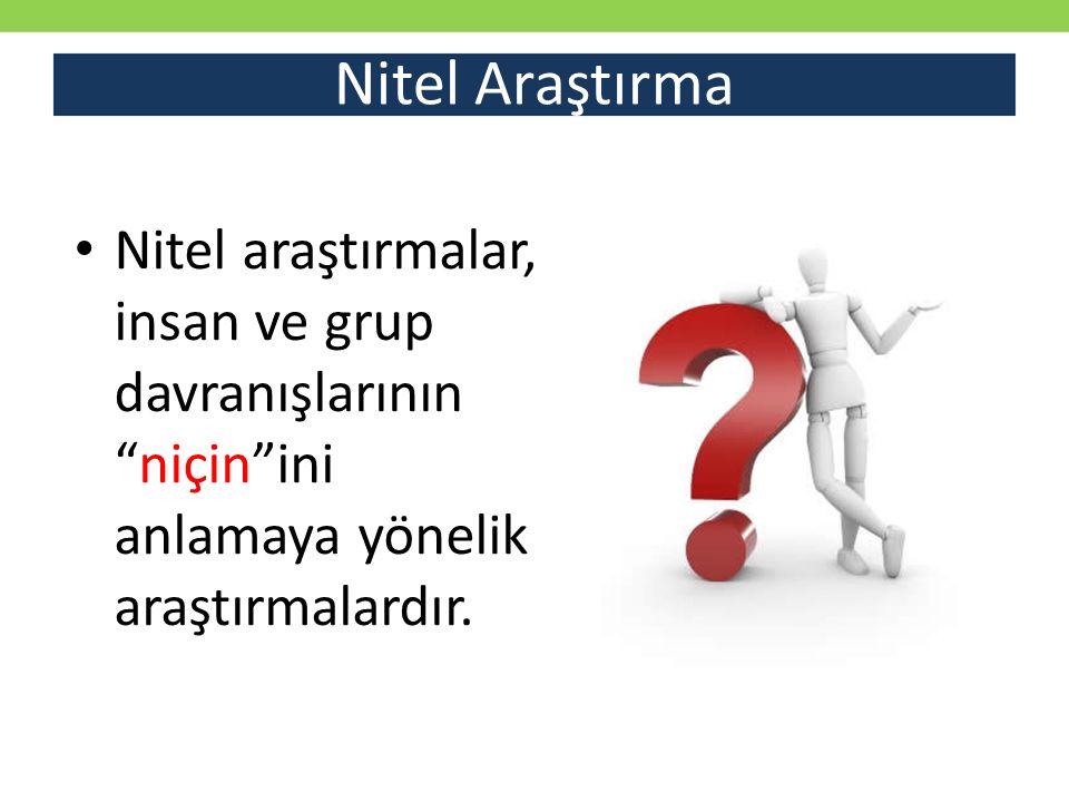 Nitel Araştırma Nitel araştırmalar, insan ve grup davranışlarının niçin ini anlamaya yönelik araştırmalardır.