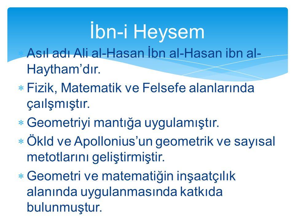 İbn-i Heysem Asıl adı Ali al-Hasan İbn al-Hasan ibn al-Haytham'dır.