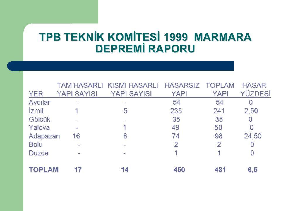 TPB TEKNİK KOMİTESİ 1999 MARMARA DEPREMİ RAPORU