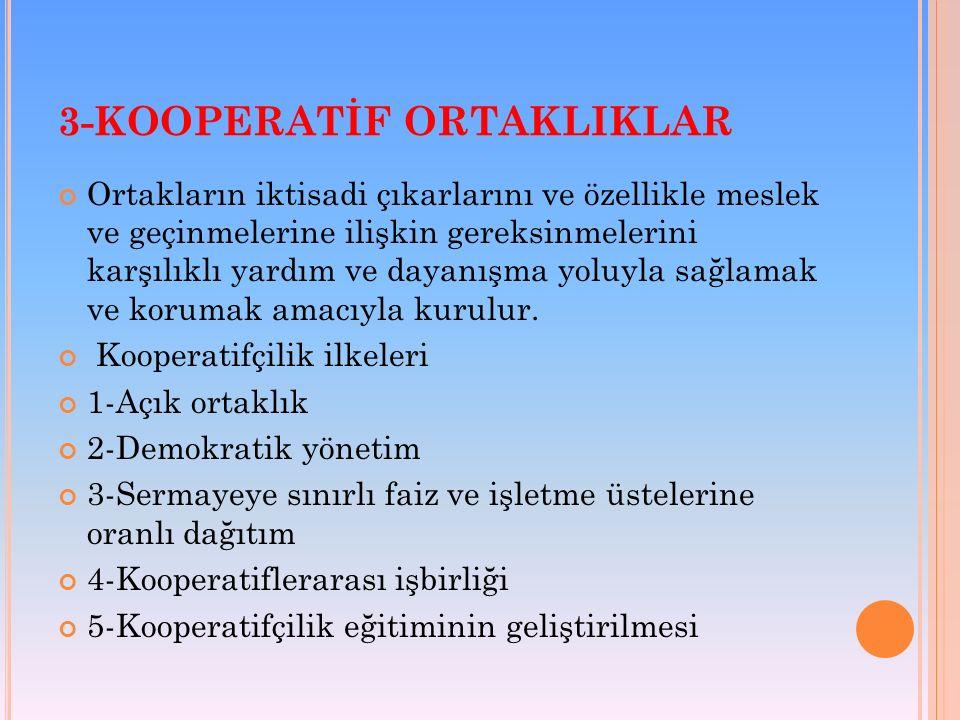 3-KOOPERATİF ORTAKLIKLAR