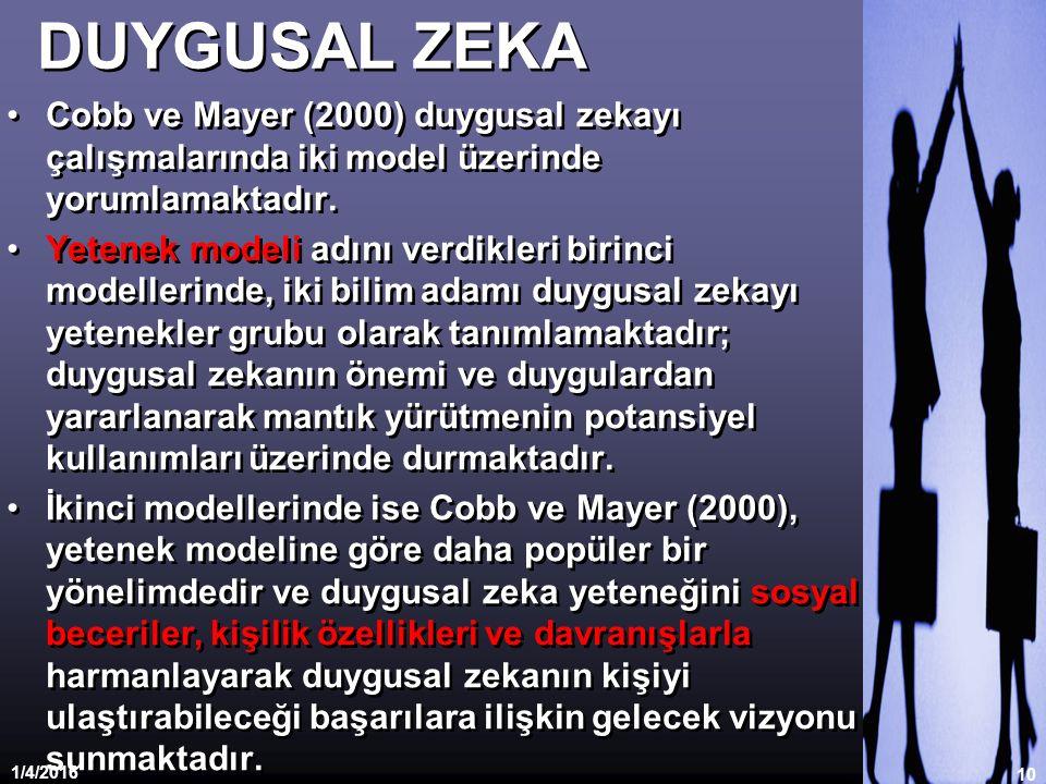 DUYGUSAL ZEKA Cobb ve Mayer (2000) duygusal zekayı çalışmalarında iki model üzerinde yorumlamaktadır.