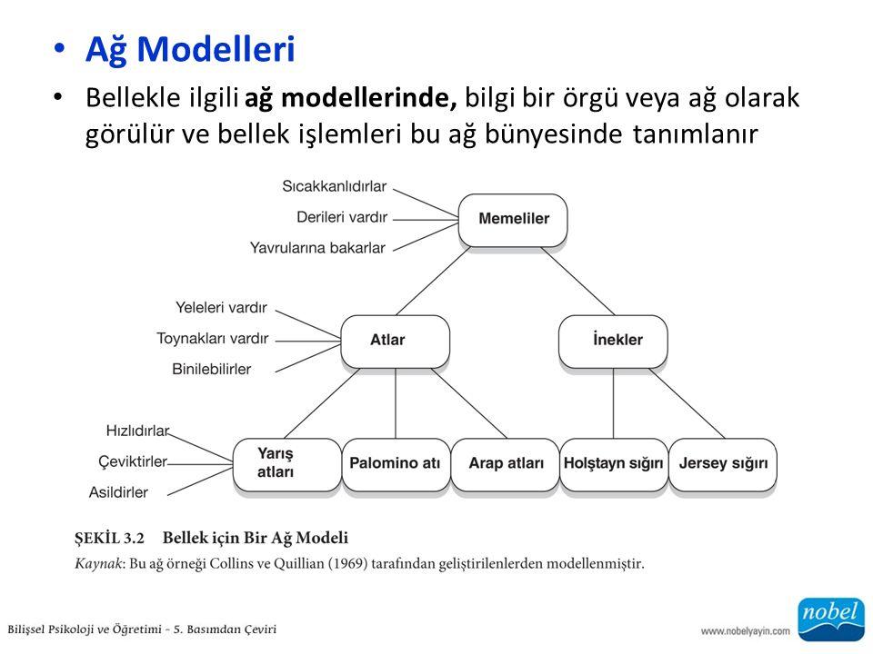 Ağ Modelleri Bellekle ilgili ağ modellerinde, bilgi bir örgü veya ağ olarak görülür ve bellek işlemleri bu ağ bünyesinde tanımlanır.