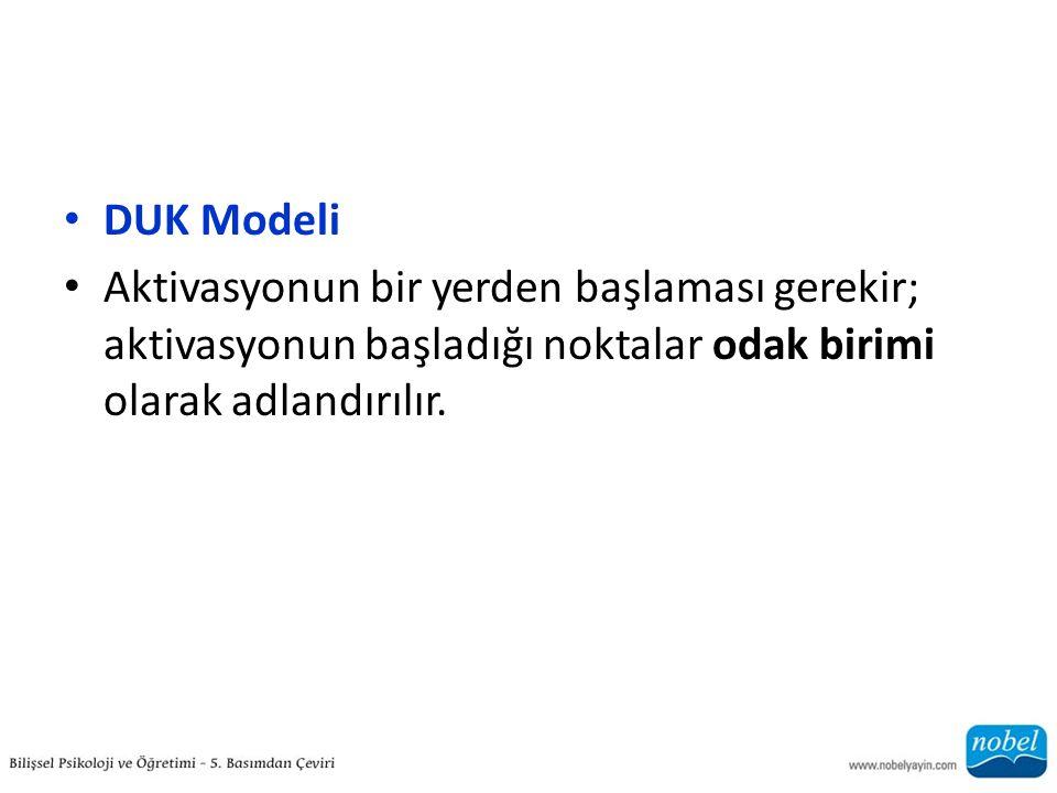 DUK Modeli Aktivasyonun bir yerden başlaması gerekir; aktivasyonun başladığı noktalar odak birimi olarak adlandırılır.
