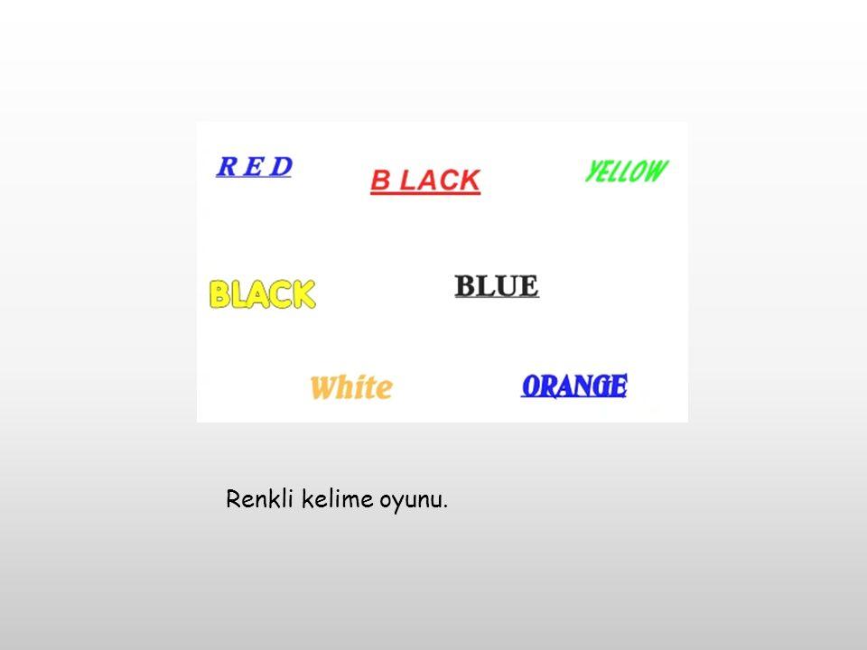 Renkli kelime oyunu.